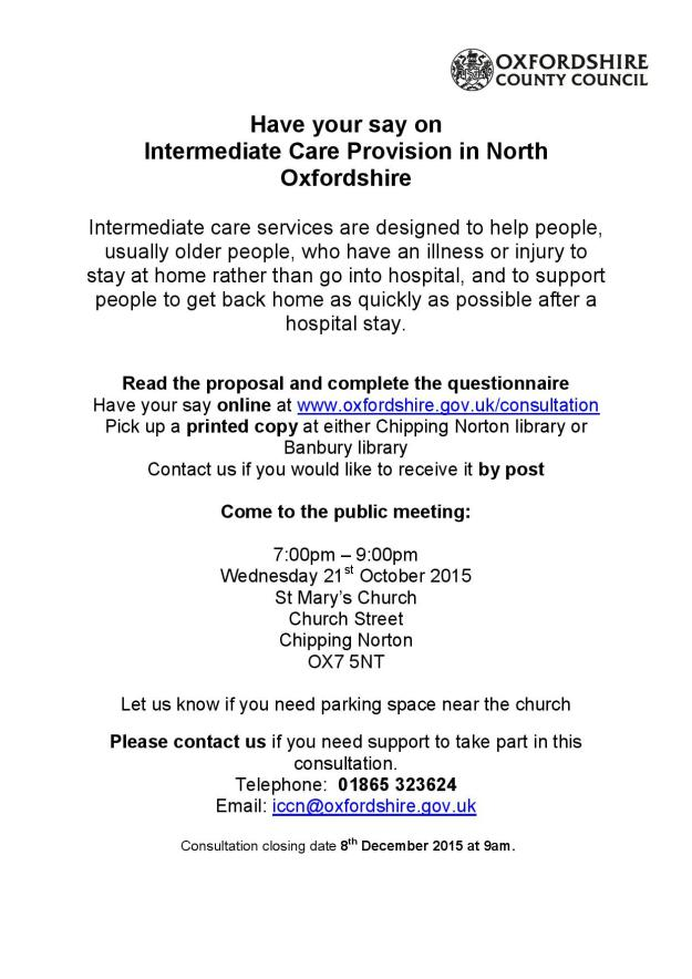 Intermediate Care Consultation poster