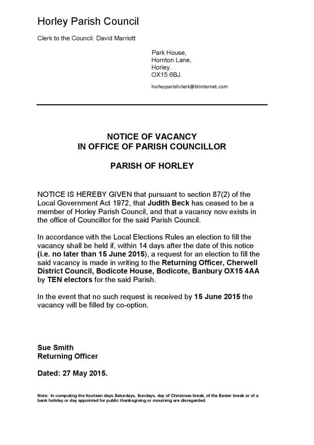 Vacancy for Councillor on HPC