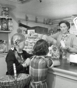 Alice Saunders and Maureen Eeles buy sweets from Mrs Oliver