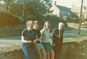 Mrs E E Eadon known as Lucy Eadon, Honor , Shân and Mr Jim Eadon in Chapel House garden