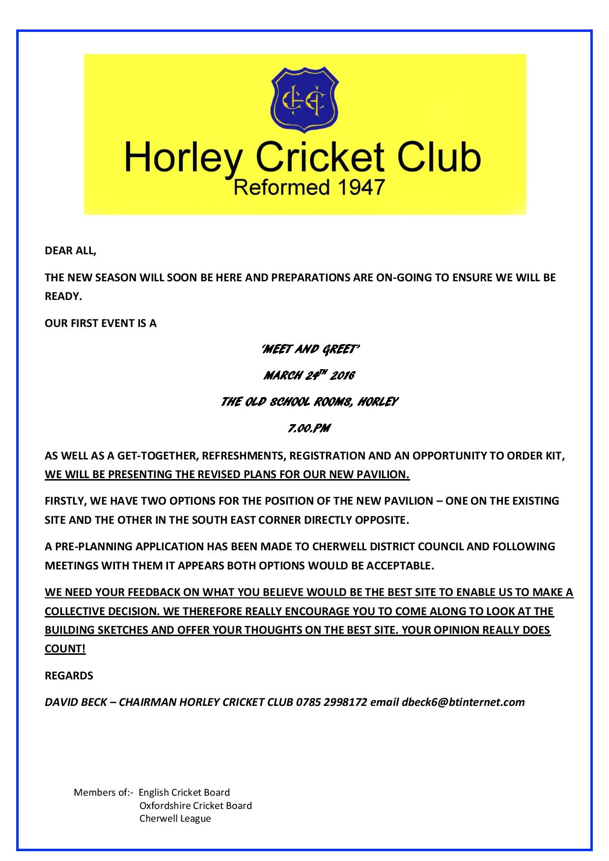 Cricket Club Village Invite Thursday March 24th Thehorleyviews